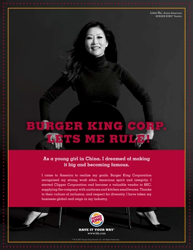 Lina Hu Burger King Ad
