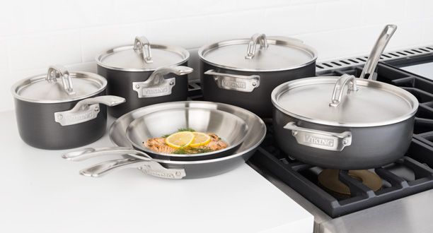 Viking Hard Stainless 5 Ply Cookware 10 Piece Set